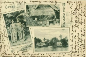 indonesia, CELEBES SULAWESI MAKASSAR, Native Girls House Fello (1903) Postcard