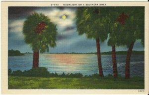 Moonlight on a Southern River - Linen Postcard - Night Scene Vintage postcard