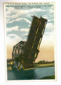 C.P.R. Bascule Bridge, Fort William, Ontario, Canada unused Valentine Postcard