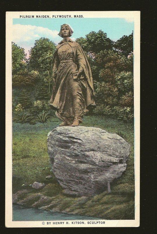 USA Pilgrim Maiden Statue Plymouth Massachusetts Linen Postcard