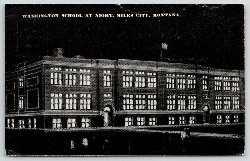 Miles City MT~Washington School Lit Up on Parent's? Night~B-Ball Game?* c1910 PC