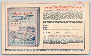 Minneapolis MN~MW Savage Factories~Spring Catalogue~Bi-Plane~1919 Adv Postal