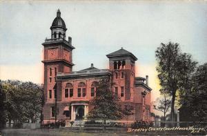 Warren Arkansas Bradley Court House Street View Antique Postcard K16939
