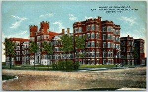 1910s Detroit, MI Postcard HOUSE OF PROVIDENCE Apartment Bldg 14th & W. Gran