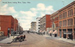 Tulsa OK Shields Rooms~Hardware~Man Scoops Poop? Behind Horse & Wagon c1910