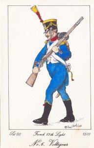 French 15th Light Regiment Volligeur Napoleonic War Soldier 1811 PB Postcard