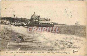 Old Postcard Nice Palais de la Jetee in heavy seas