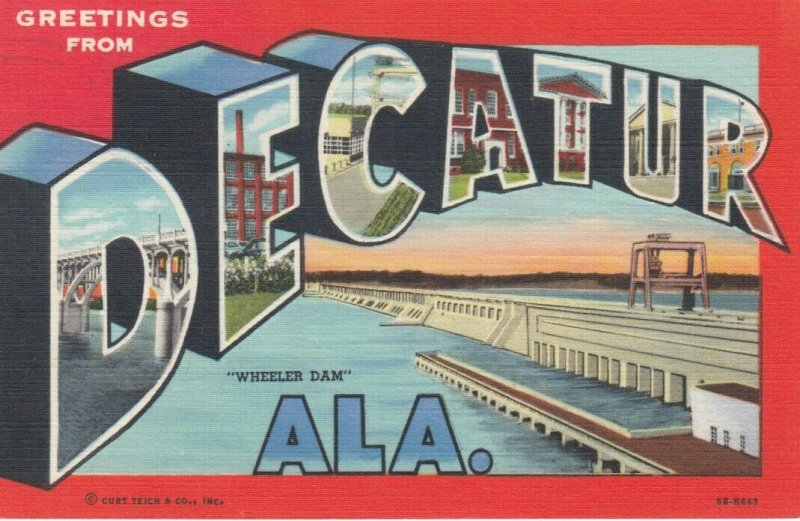 Large Letter Greetings DECATUR , Alabama, 1930-40s