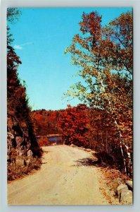 Muskoka Ontario- Canada, General Greeting, Autumn Road, Lake Bays ChromePostcard