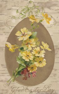 EASTER, PU-1908; Gold Egg, Yellow Flowers