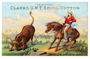 Trade Card , Cowboy roping a steer  with  Clark's Cotton