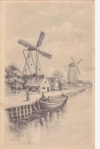 AS: L. Swinburne Sketch, Waterfront View of Windmills, 1900-10s