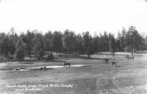 RPPC Jacob Lake, Arizona Uncle Billie Crosby & Horses c1950s Vintage Postcard