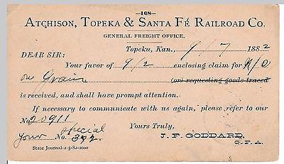 ATSF, Atchison Topeka & Santa Fe, freight claim notice, T...