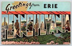 Erie Pennsylvania~State Large Letter Linen Postcard~Wm Penn~Liberty Bell~1940