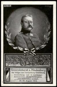 Germany WWI General Hindenburg Tannenburg Patriotic Feldpost PPC 67418