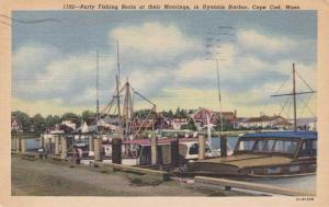 Party Fishing Boats - Hyannis Harbor, Cape Cod, Massachusetts pm 1958