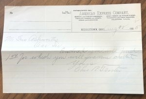 1905 Middletown, Ohio AMERICAN EXPRESS CO SHIPPERS RECEIPT