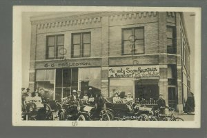 Bancroft SOUTH DAKOTA RPPC 1909 AUTO RALLY Cars MOTORCYCLE nr De Smet GHOST TOWN