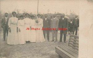 Black Americana, RPPC, Wedding Bride & Groom with Bridesmaid Groomsmen Preacher