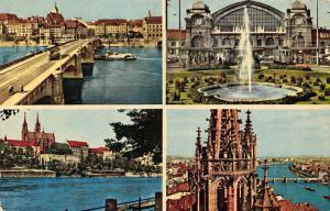 Switzerland Greetings from Basel Bridge Tram Fountain Church Postcard