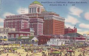 New Jersey Atlantic City Beach Scene At Chalfonete Haddon Hall Hotels 1955