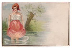 Beautiful Woman Wading in Water