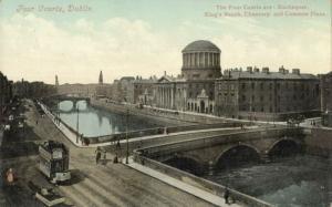 ireland, DUBLIN, Four Courts, TRAM (1910s)