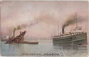 Illinois Il Postcard 1909 WAUKEGAN HARBOR Ship Boat Loading