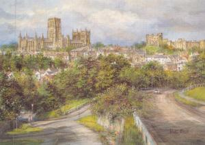 Postcard Art Durham City from Gilesgate by Pat Bell Large 170x120mm