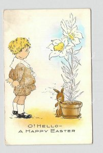 PPC POSTCARD HAPPY EASTER OH HELLO WHITNEY BOY LOOKING AT CHICK IN PEACE LILLY B