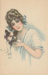 ART DECO ; Female with French Bulldog, 1910-20s