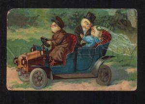 076210 Dressed CHICKENS in Car WEDDING vintage Russian PC