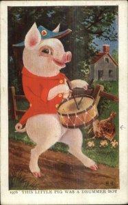 Nursery Rhyme Fantasy This Little Pig Playing Drum Drummer Boy Postcard