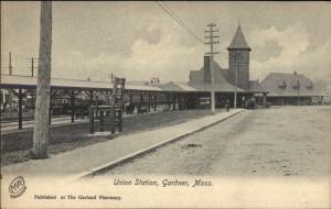 Gardner MA Union RR Train Station Depot c1905 Postcard EXC COND