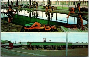 Lordsburg, New Mexico Postcard HOLIDAY MOTEL Pool Scene Hwy 70 Roadside c1960s