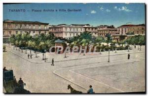Postcard Old Taranto Piazza Garibaldi and Villa Archite