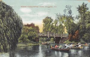 Boating, Scene Washington Park, Chicago, Illinois, PU-1908