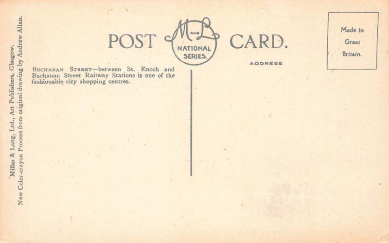 Buchanan Street, Glasgow, Scotland, Great Britain, Early Postcard, Unused