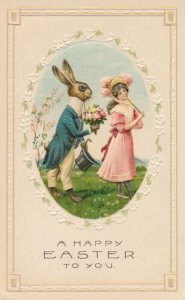 Easter Greetings - Gentleman Dressed Rabbit proposing to Pretty Lady - DB