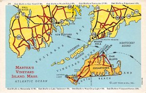 Maps Marthas Vineyard and Nantucket Islands Massachusetts, USA Unused
