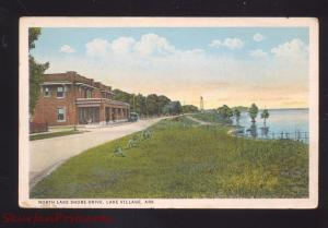 LAKE VILLAGE ARKANSAS NORTH LAKE SHORE DRIVE ANTIQUE VINTAGE POSTCARD