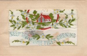 Hand Sewn, 1900-10s; Keep the Home Fires Burning, House scene, flowers, Insert