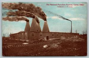 Carey Ohio~National Porcelain Factory~Stacks Blow Black Smoke~1911 JD Ewing PC