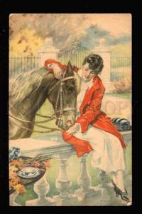 032076 Lovely HORSE & Lady Rider By RELYEA vintage #11 PC