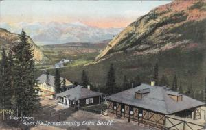 View from Upper Hot Springs showing baths , BANFF , Alberta , Canada , 1908