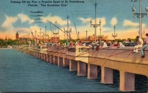 Florida St Petersburg Fishing Off The Pier 1956