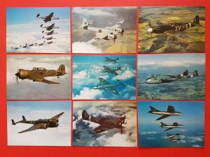 Set of 9 New Postcards RAF Museum Series of Outstanding Aircraft WW2 1950's A7a