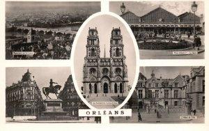 Vintage Postcard 1920's Five Famous Landmark Places in Orleans France