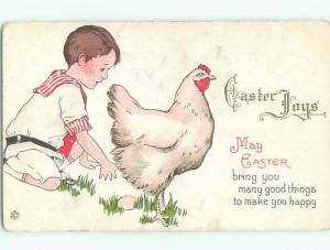 Pre-Linen easter BOY COLLECTS EGG LAID BY CHICKEN k2889